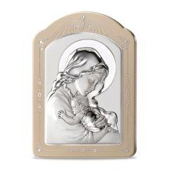 Ezüst plakett díszített kerettel (Mária kis Jézussal)