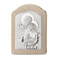 Ezüst plakett díszített kerettel (Szent Család)
