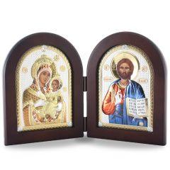 Faplakett ezüst ikon betéttel (nyitható oltár)