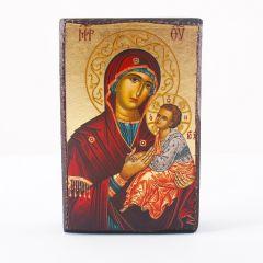 Aranyfóliázott Mária kis Jézussal ikon, fa táblán
