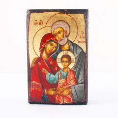 Aranyfóliázott Szent Család ikon, fa táblán
