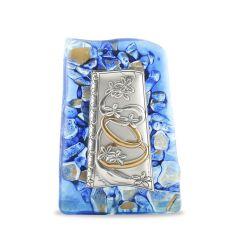 Murano-i üveg plakett ezüst betéttel (házasságkötés)