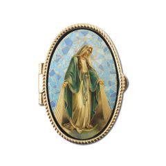 Réz rózsafüzértartó szentképpel (Segítő Szűzanya)