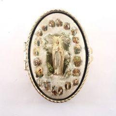 Lourdes-i Szűzanya réz rózsafüzértartó