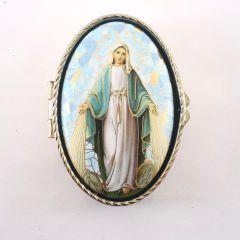 Csodás Szűzanya réz rózsafüzértartó