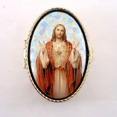 Jézus szíve réz rózsafüzértartó