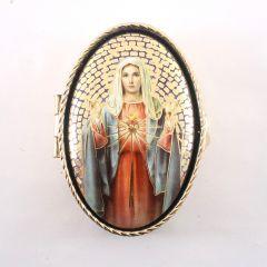 Réz rózsafüzértartó szentképpel (Mária szíve)