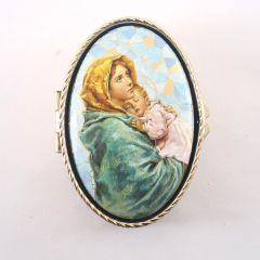 Mária kis Jézussal réz rózsafüzértartó