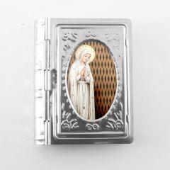 Fatimai Szűzanya, könyv alakú fém rózsafüzértartó