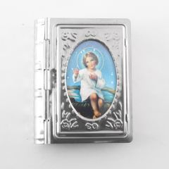 Kis Jézus, könyv alakú fém rózsafüzértartó