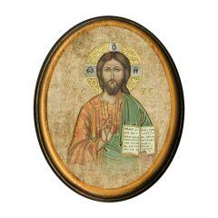 Antik hatású ovális faplakett aranyozott szentképpel