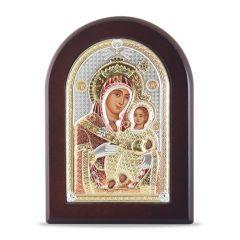 Faplakett ezüst ikon betéttel (Mária kis Jézussal)
