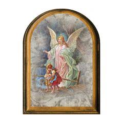 Antik hatású boltíves faplakett aranyozott szentképpel