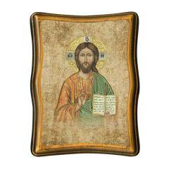 Antik hatású hatszögletű faplakett aranyozott szentképpel