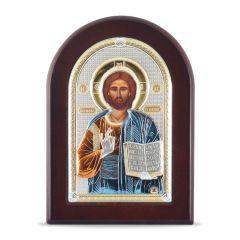 Faplakett ezüst ikon betéttel (Krisztus a tanító)