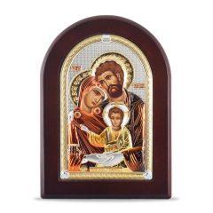 Faplakett ezüst ikon betéttel (Szent Család)