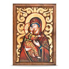 Ikon fatáblán (Mária kis Jézussal)