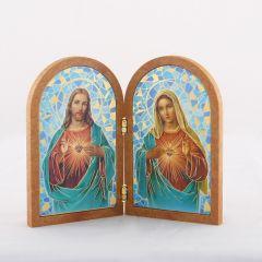 Boltíves plakett  Jézus szíve és Mária szíve szentképpel