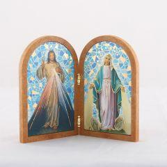 Boltíves plakett Irgalmas Jézus és Csodás Szűzanya szentképpel