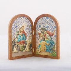 Boltíves plakett Jézus gyermekekkel és Rózsafüzér királynője szentképpel
