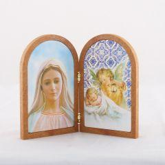 Boltíves plakett Medjugorje-i Szűzanya és Angyal szentképpel