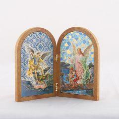 Boltíves plakett Szent Mihály és Őrangyal szentképpel