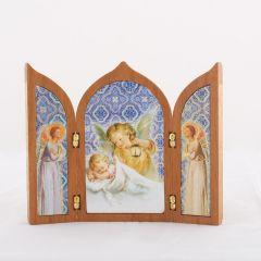 Aranyozott szárnyas oltár Angyal szentképpel