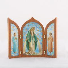 Aranyozott szárnyas oltár Segítő Szűzanya szentképpel