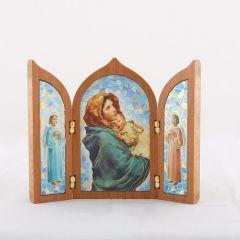 Aranyozott szárnyas oltár Mária Kis Jézussal szentképpel