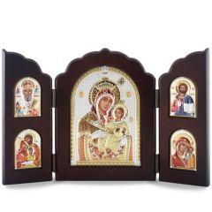Faplakett ezüst ikon betéttel (szárnyas oltár)