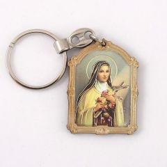 Faplakettes kulcstartó aranyozott szentképpel