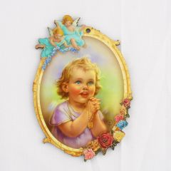 Aranyozott, angyalkás faplakett