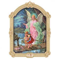 Barokk stílusú faplakett aranyozott szentképpel