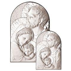 Állitható és akasztható ezüst plakett Szent Család