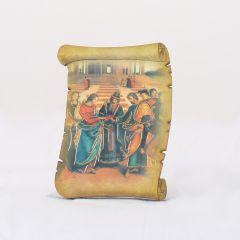 Támasztható pergamen alakú faplakett