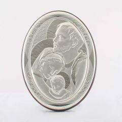 Állitható és akasztható ezüst ovál plakett Szent Család