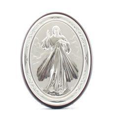 Állitható és akasztható ezüst ovál plakett Irgalmas Jézus