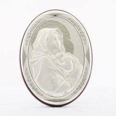 Állitható és akasztható ezüst ovál plakett Mária kis Jézussal