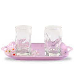 Exkluzív Murano-i üvegtálca poharakkal