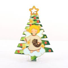 Karácsonyfadísz, aranyozott kontúrvonalakkal