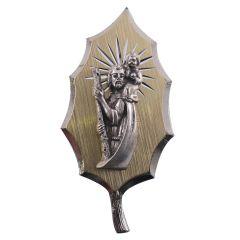 Öntapadós Szent Kristóf érem (gravírozott betétes)