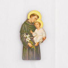 Formára vágott fa hűtőmágnes aranyozott szentképpel