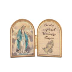 Nyitható mini faplakett Segítő Szűzanya szentképpel