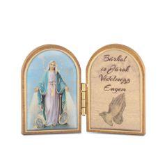 Nyitható mini faplakett Csodás Szűzanya szentképpel