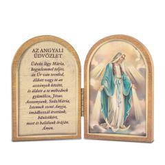 Nyitható faplakett Segítő Szűzanya szentképpel és imádsággal