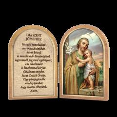 Nyitható faplakett Szent József szentképpel és imádsággal