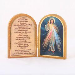 Nyitható faplakett Irgalmas Jézus szentképpel és imádsággal