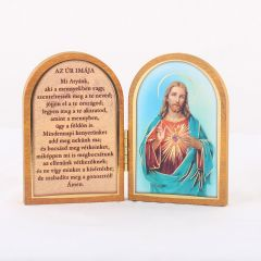 Nyitható faplakett Jézus szíve szentképpel és imádsággal