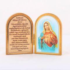 Nyitható faplakett Mária szíve szentképpel és imádsággal