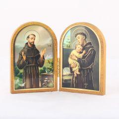 Nyitható faplakett Szent Antal és Szent Ferenc szentképpel